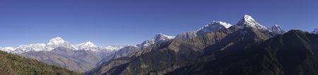 Panorama Himalaya Mountains View from Poon Hill