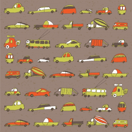 funny cars seamless pattern in orange and green colors