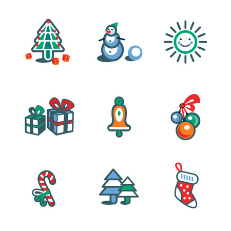 Christmas isolate icon set