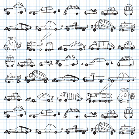 funny cars seamless pattern in school style