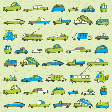 funny cars seamless pattern in blue and green colors