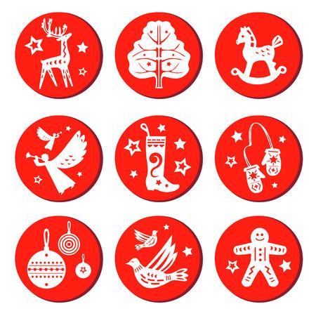 Christmas round set Illustration