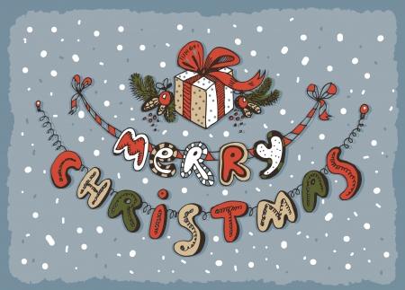 Merry Christmas card blue