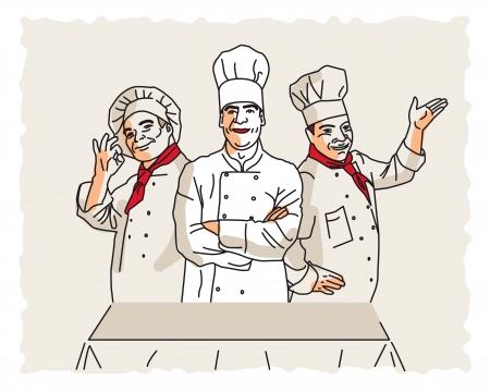 restaurateur: Trois chefs de vecteur