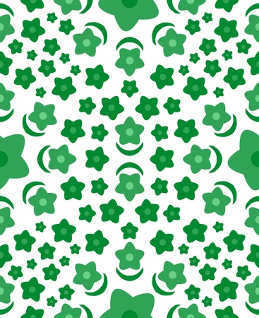 Green flower pattern vector seamless Illustration