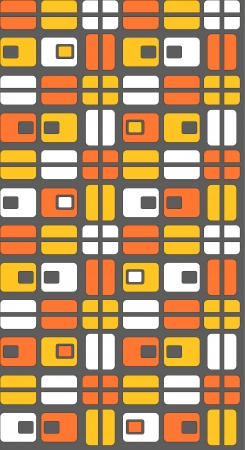 Red, orange and white shapes on a grey background