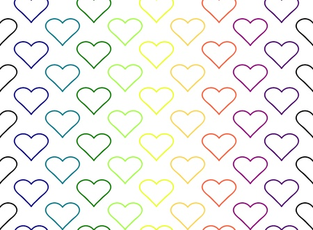 Colourful seamless hearts on a black background