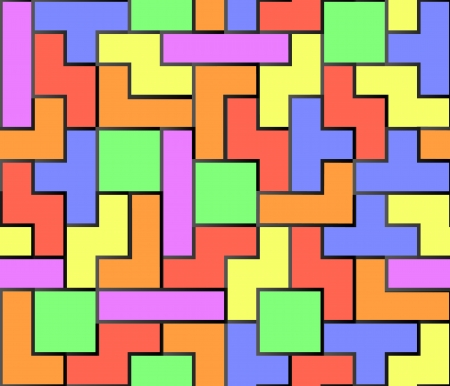 Green, blue, red, orange and yellow tetris shapes Illustration