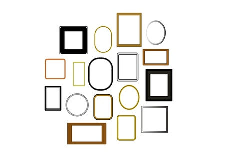picture frames of many sizes and colours