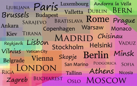 All the capital cities of Europe on a colourful background