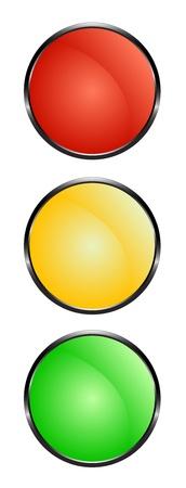 Verkeerslichten - rood, geel en groen Stock Illustratie