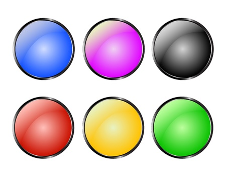 buttons of six colours on a white background