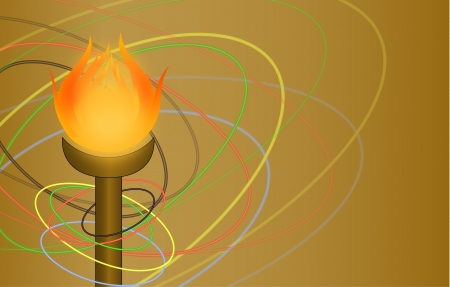 flambeau and rings on a brown background
