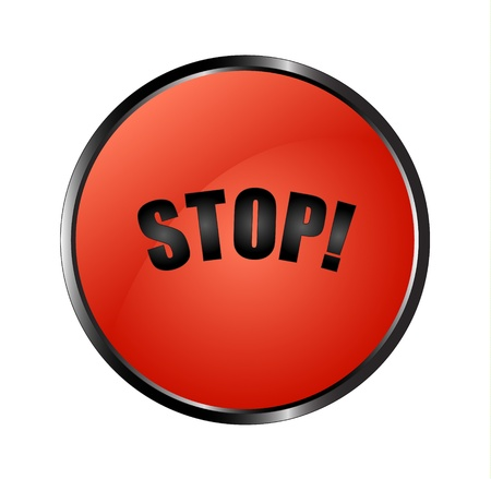 Realistic red button with a black sign stop! Stock Vector - 15063486