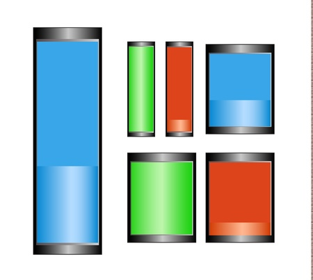 Battery icon indicators of two sizes nad two states - full, half and empty