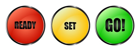 Botones rojos, amarillos y verdes listo - set - ir!