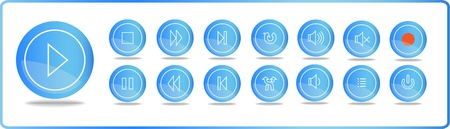 Blue media icons - play, stop, pause and others