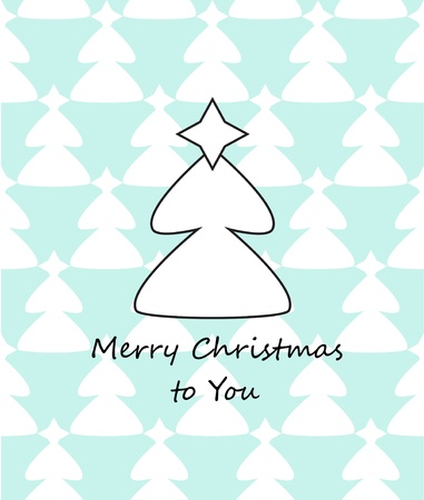 Christmas greeting card - white christmas tree vector Stock Vector - 15774416