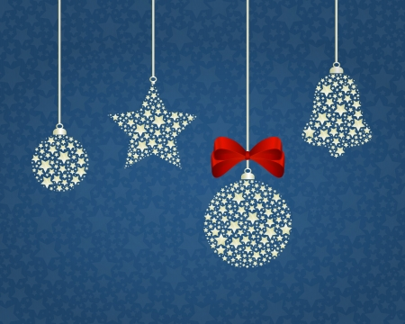 Christmas vector background - christmas symbols on a blue background, ribbon Vector