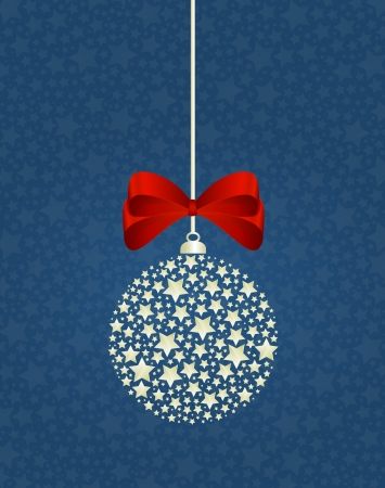 Christmas decoration vector illustration with red ribbon