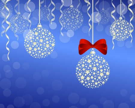 festoon: Christmas background vector illustration - christmas decoration, festoon and ribbon Illustration