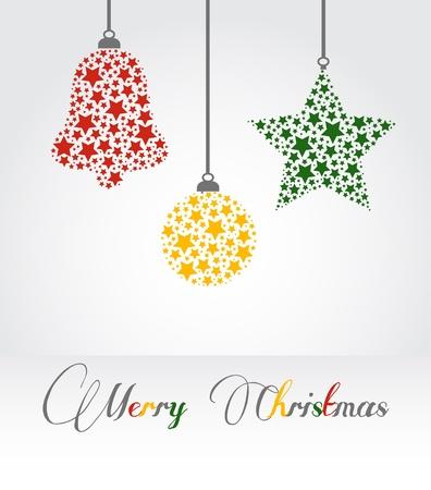 Navidad ilustraci�n vectorial - campana, estrella y decoraci�n y el texto de la Feliz Navidad Vectores