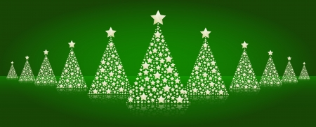Vector christmas illustration - christmas trees made of stars Stock Vector - 16442180