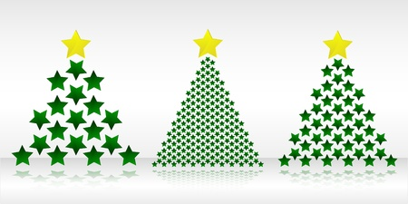 Vector christmas illustration - three christmas trees made of stars Stock Vector - 16442177
