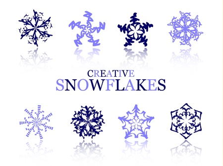 coldness: Creative snowflakes on white vector illustration Illustration