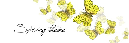 Butterflies on white - spring vector background