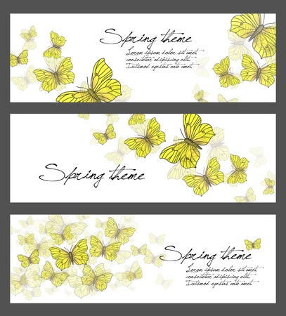 Set of spring illustrations - butterflies Stock Illustration - 17590491