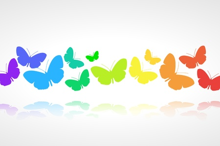 Colorful butterflies background on white Illustration