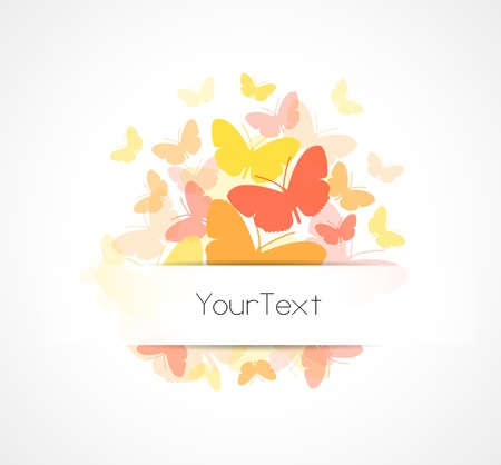 Sample text spring background - colorful butterflies