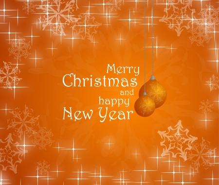 Feliz Navidad y feliz a�o nuevo texto sobre fondo naranja, copos de nieve, adornos Foto de archivo