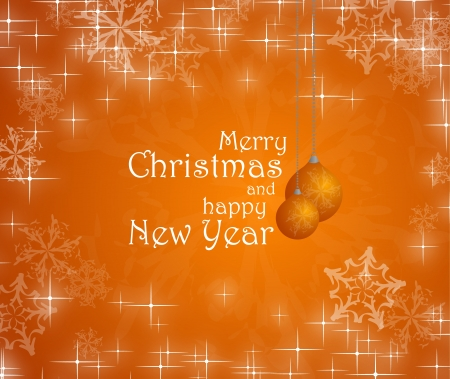 Merry christmas and happy New Year text on orange background, snowflakes, baubles Stock Photo - 17988924