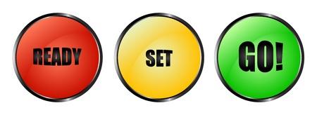 Botones rojos, amarillos y verdes Ready Set Go Foto de archivo