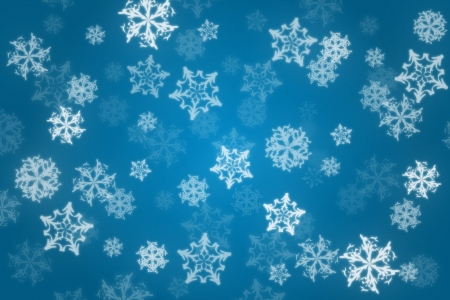 Winter snowy illustration - snowflakes on blue background