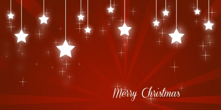 Merry christmas illustration with shining stars on red background Stock Illustration - 17988916