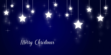 Merry christmas illustration with shining stars on blue background Stock Illustration - 17988915
