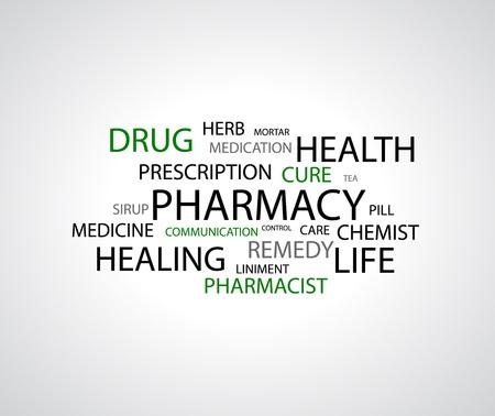 patient: achtergrond - farmacie gerelateerde woorden op wit Stock Illustratie