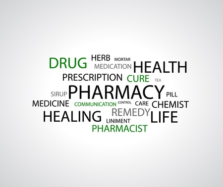remedy:  background - pharmacy related words on white