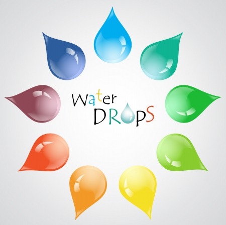 Colorful vector water drops