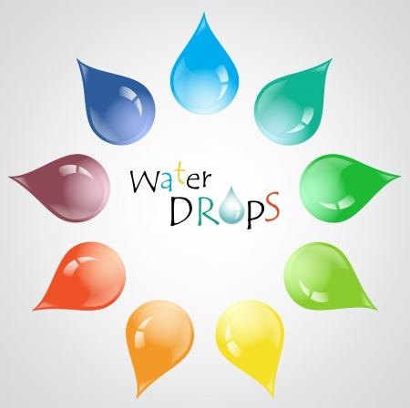 Kleurrijke vector waterdruppels