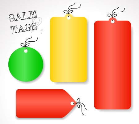 Vector venta etiquetas - diferentes formas y colores (rojo, amarillo y verde), conjunto 2 Vectores