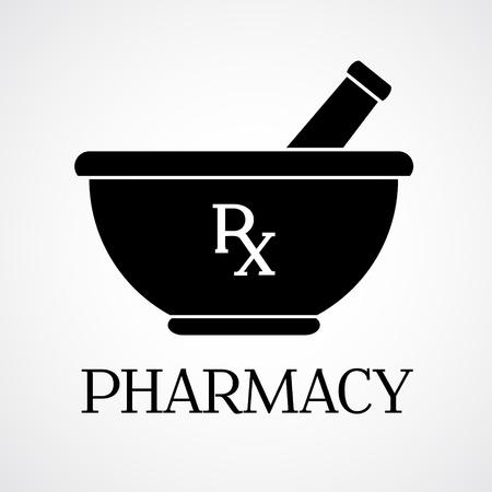 Vector farmacia simbolo - mortaio e pestello Vettoriali