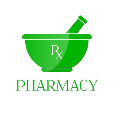 Pharmacy vector symbol - mortar in green color