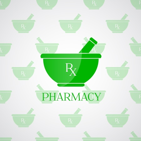 Vector pharmacy background - mortar in green color Illustration