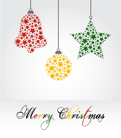 christmas stars: Christmas vector illustration - bell, star and decoration Illustration