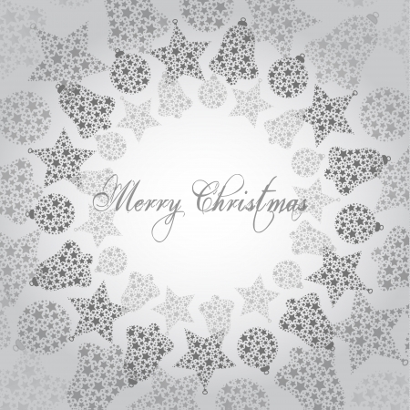 Vector illustration - merry christmas, many small grey ornaments Vector