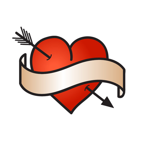 Love symbol - red heart - with ribbon Illustration